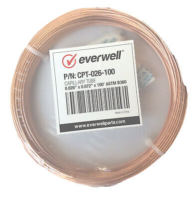 Refrigeration Copper Capillary Tubing 0.026 Id X 0.072 Od X100 Astm B-360