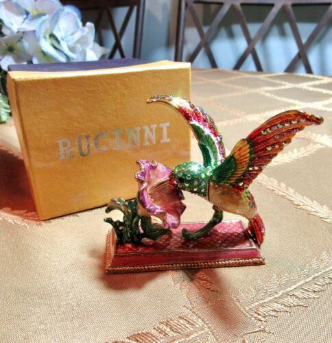 Hummingbird and Flower Jeweled Trinket Box