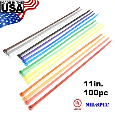 Color Zip Cable Ties 11 50lbs 100pc Made In Usa Nylon Wire Tie Wraps