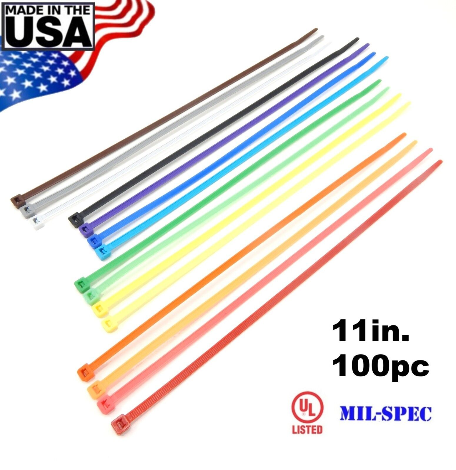 """Color Zip Cable Ties 11"""" 50lbs 100pc Made in USA Nylon Wire"""