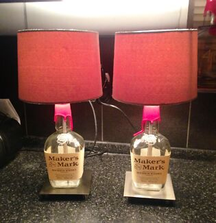 MAKERS MARK Bourbon x2 Table/Bar/Bedside Lamp Lights Southport Gold Coast City Preview