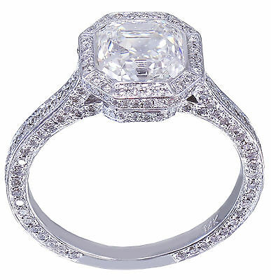 GIA H-VS2 14K White Gold Asscher Cut Diamond Engagement Ring Bezel 2.25ctw 11