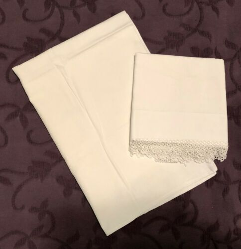 Pair of Antique White Cotton Pillowcases with Circle Lace Trim