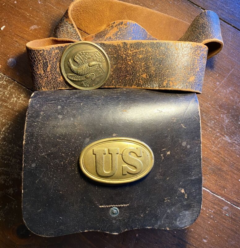 Original civil War Leather Cartridge Box A.D. Laidley US Ord Dept SUB Inspector