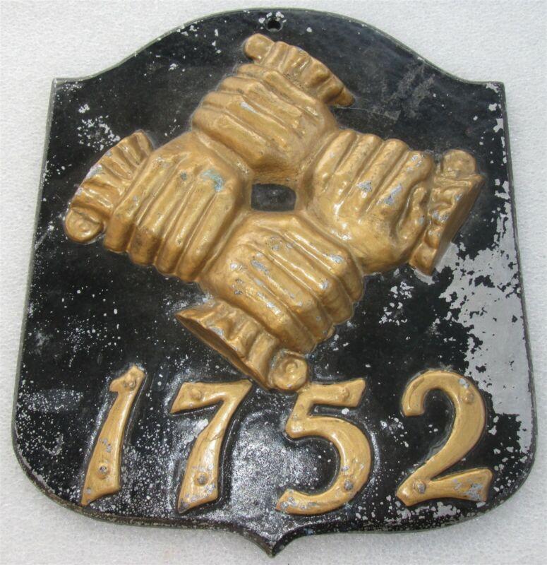 FIRE MARK HANDS: Philadelphia Contributioship Insurance Metal Plaque MARKER/SIGN