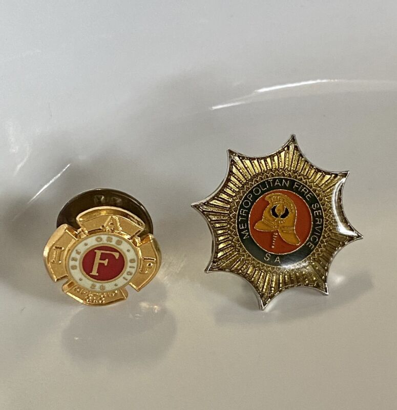 """Fire Department  """"Gold tone""""  Hat Pin /Lapel Pin Lot Of Two Pins FD Service"""