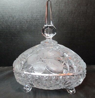 """Embossed Frosted Footed Leaves Candy Dish 9"""" Tall Triangle Shape"""