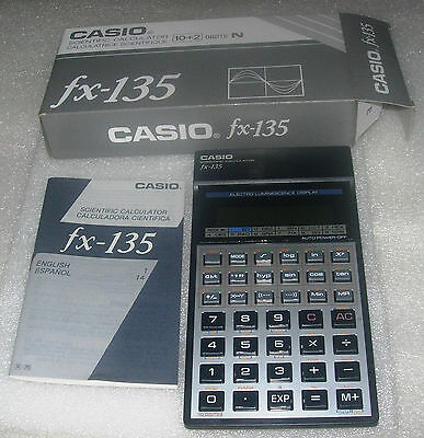 Vintage Casio fx-135 Scientific Calculator Electro Luminescence Display