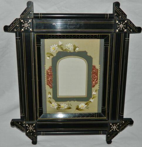 FINE Victorian 1870s Ebonized EASTLAKE Antique Frame FANCY Painted MATT WOW!