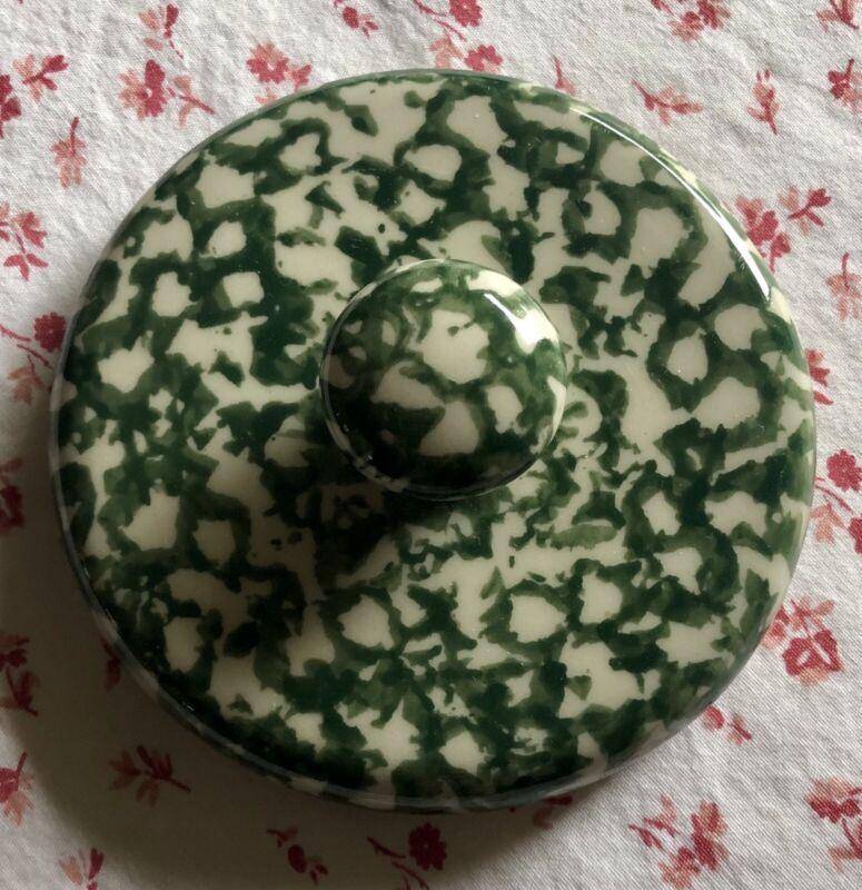 """Vintage HENN Pottery Green Spongeware 3.5"""" Lid ~ Roseville, Ohio, USA"""