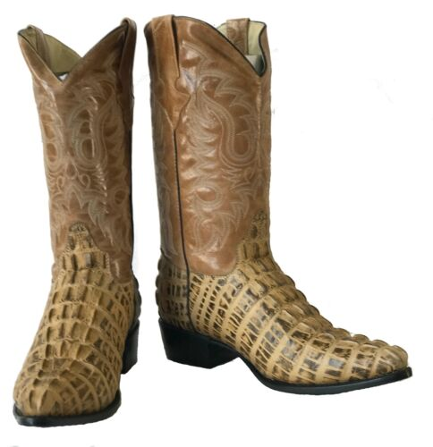 Mens, New, TW, Crocodile, Alligator, Tail, Leather, Cowboy, Western, Boots, Beige, J, Toe,