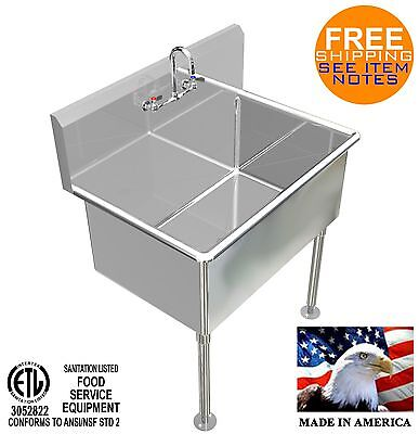 Hand Washing Sink 36x24x15deep Big Tub Heavy Duty Stainless Steel Made In Usa