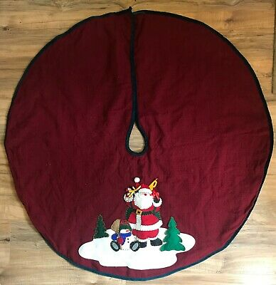 "Santa Claus Christmas Tree Skirt Red Felt Applique Velour Velvet Trim 43"" Round"