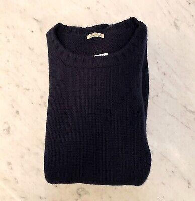 $1000 MALO 100% Cashmere Crew Neck Navy Blue Sweater XL Heavyweight Knit Jumper