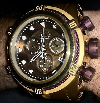 INVICTA RESERVE 52mm BOLT ZEUS 12740 SWISS QUARTZ CHRONO GOLD/PURPLE TONENewCond