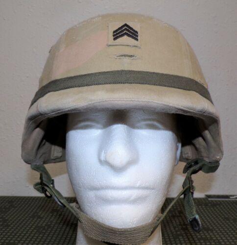 OIF Era US Army Ballistic PASGT Helmet & Three-Color Desert Camo Cover Size MED