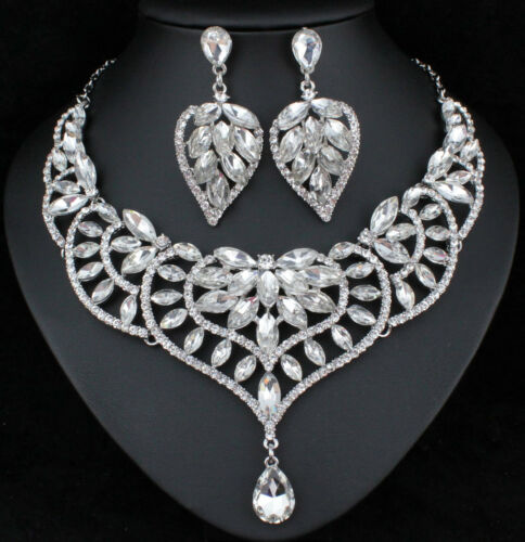 Water Lily Austrian Crystal Rhinestone Necklace Earrings Set Prom Bridal N916