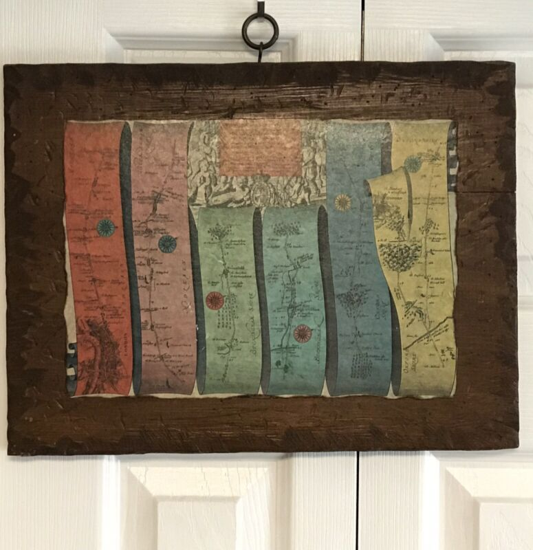 Vintage Wooden Road Map From London To Oxford John Ogilby 1675 REPRO BY MCNALLY