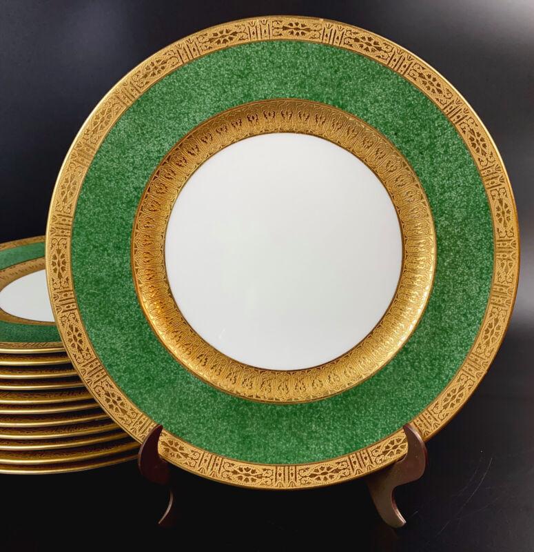 "Antique Cauldon Tiffany & Co 12 Dinner Plates Gold  Encrusted Green V-3311 10.5"""