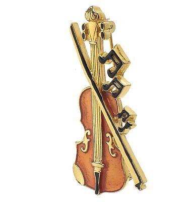 Fiddle Pin (Violin Fiddle Cello brooch pin by Cozme 1980's enamel gold tone New in)