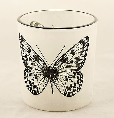 Butterfly Autumn Nature Glass Votive Candle Holder Yankee Candle NEW paper tea