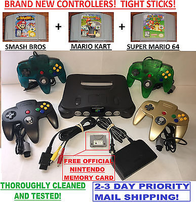 N64 Nintendo 64 Console With Brand New Controllers   Smash Bros Mario Kart Super