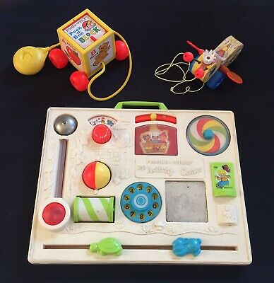 3 Vintage Antique Fisher Price Toy Lot (Activity Center, Peek-A-Boo, Buzzy Bee)