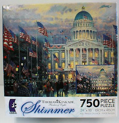750Pc Thomas Kinkade Flags Over The Capital Puzzle Made In Usa 750 Piece Jig Saw