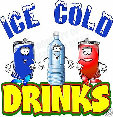 Ice Cold Drinks 14 Decal Water Soda Pop Cans Concession Food Truck Cart Vinyl
