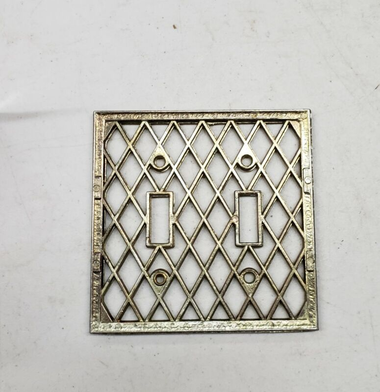 """4 1/2"""" Gold and Silver Pearl Lattice Brass Vintage Dual Electrical Switch Plate"""