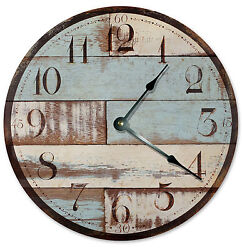 BLUE TAN WOOD RUSTIC CLOCK Large 10.5 inch Wall Clock, PRINTED WOOD LOOK - 2025