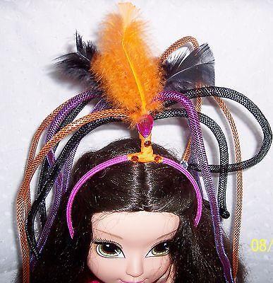 FUNNY HAIR HEADBAND FEATHERS-  BLACK - ORANGE -DANGLING-COSTUME-DRESS - Headband Funny