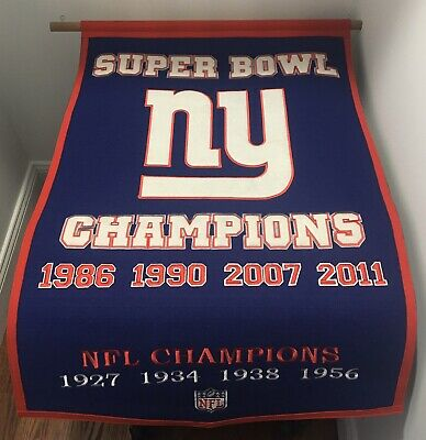 Wool Dynasty NFL SB NY Giants Banner 24 x 36 (Up To Date) With All Championships