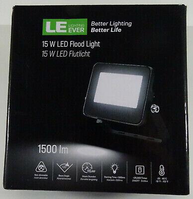 LE 15W LED Flutlicht Strahler IP65 5000 K ultradünn schwarz