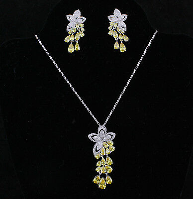Daisy Drops Yellow CZ Cubic Zirconia Crystal Necklace Earrings Set Wedding CZ907 Crystal Daisy Necklace Earrings