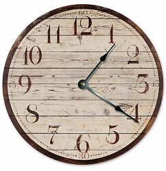 RUSTIC BROWN WOOD Clock - Large 10.5 Wall Clock - 2027