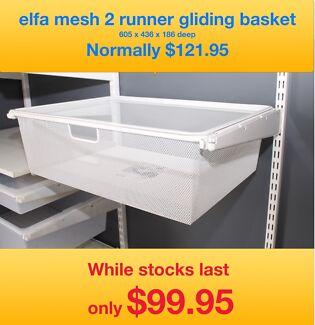 elfa shelving 2 runner close mesh baskets