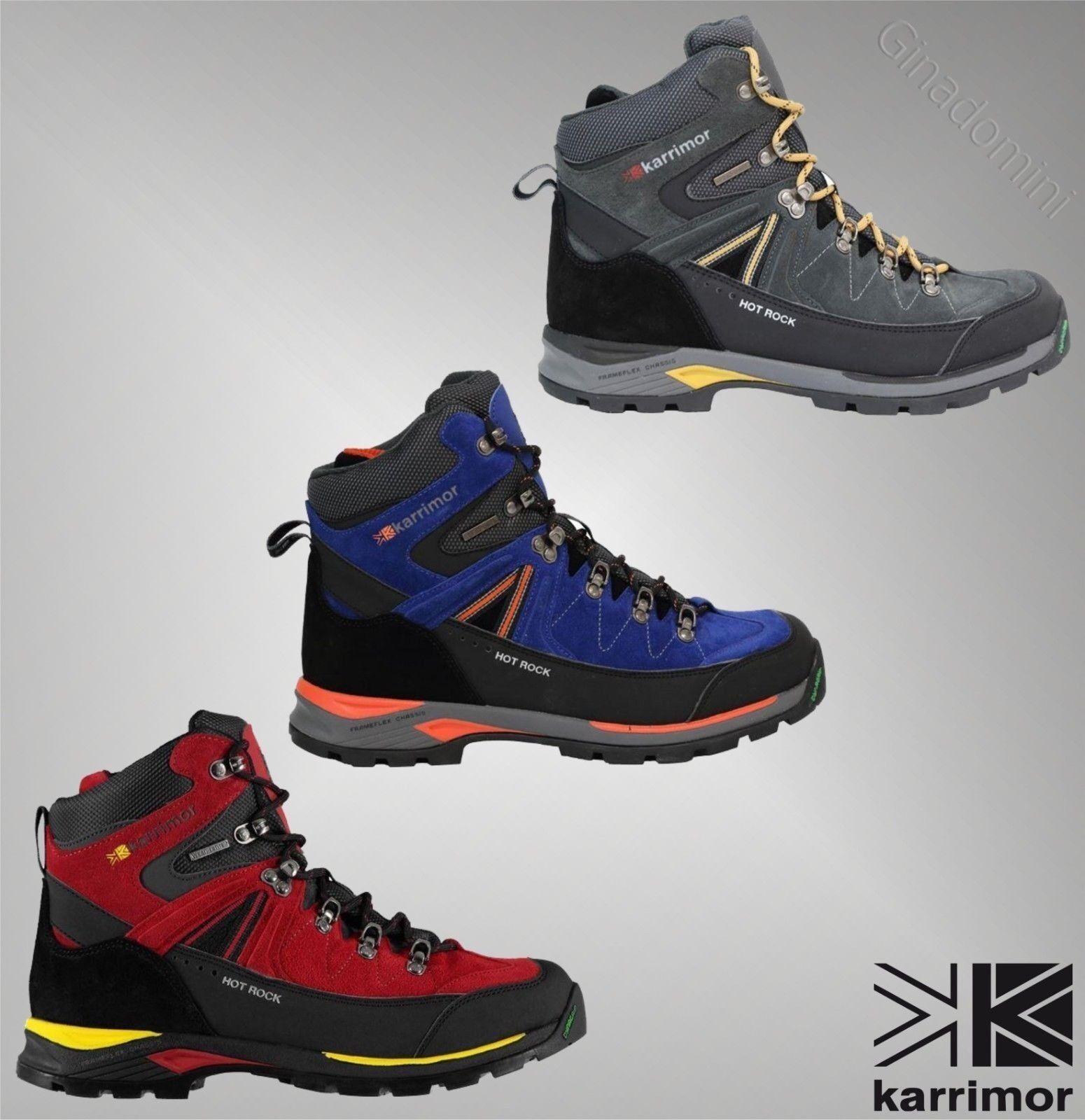 Junior Kids Karrimor Hot Rock Grey Blue Walking Hiking Weathertite Boots