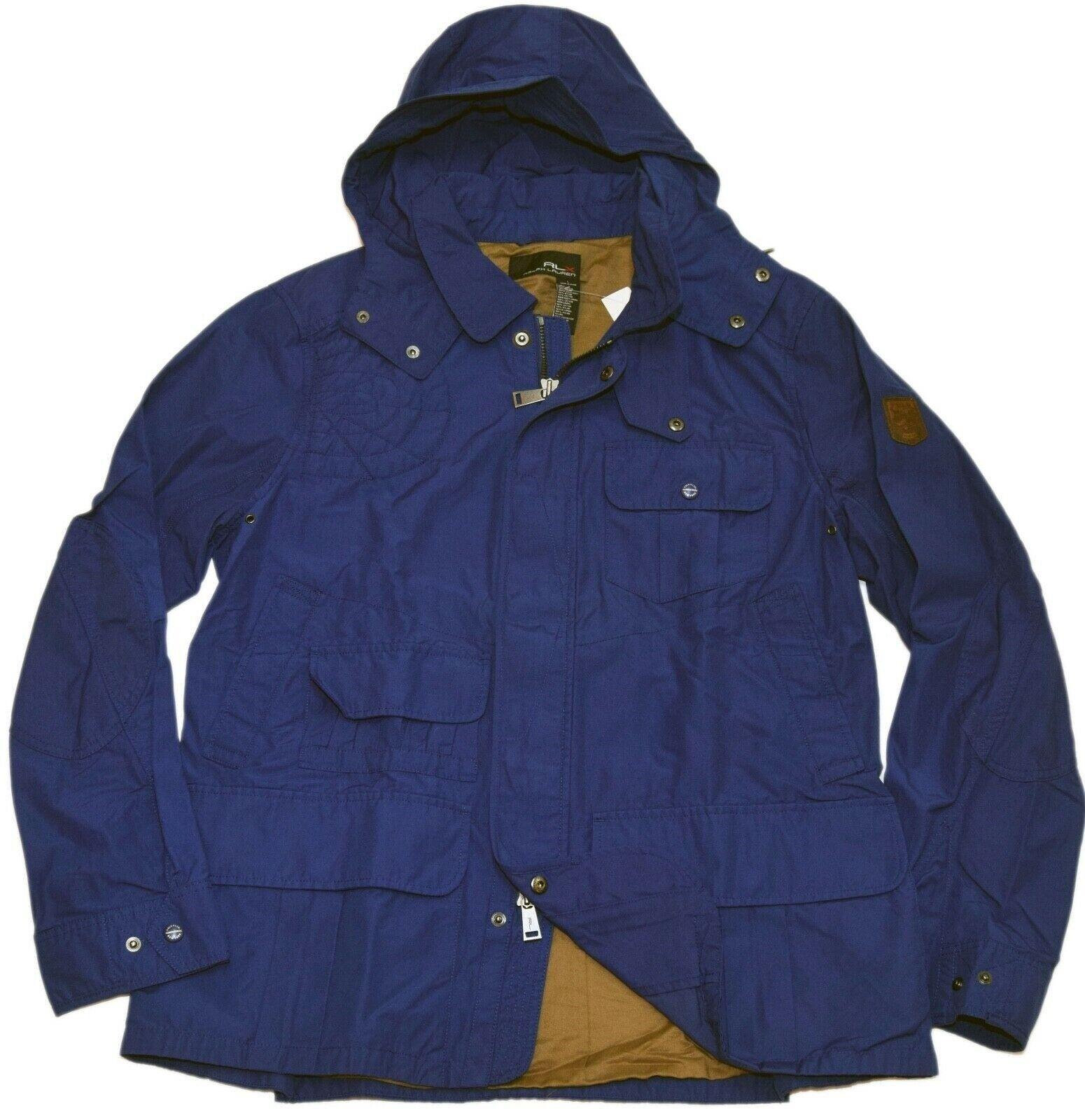 495-polo-ralph-lauren-rlx-mens-hooded-cargo-nylon-cotton-jacket-coat-blue-large