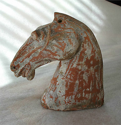 Antique China Western Han Dynasty Pottery Horse Head Museum Item 206 BC - 220 AD