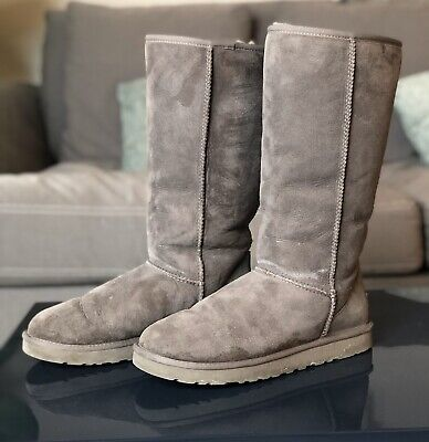 UGG Australia Gray Classic Tall Boots 5815 Suede Sheepskin Women's Size 10