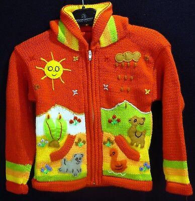 KINDERJACKE CARDIGAN FOR KIDS ORANGE KAPUZE KINDER NEU AUS PERU GR E 104 110