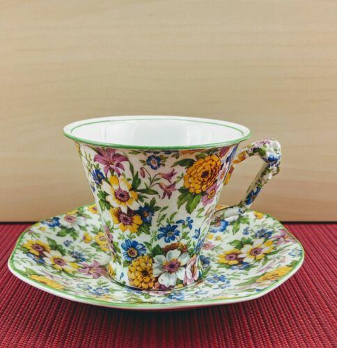 Rare James Kent Floral Tea Cup / Teacup and Saucer 1930s Crown and Shield Logo