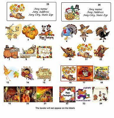 30 Personalized Return Address Thanksgiving Labels  Buy 3 get 1 free (tg1)