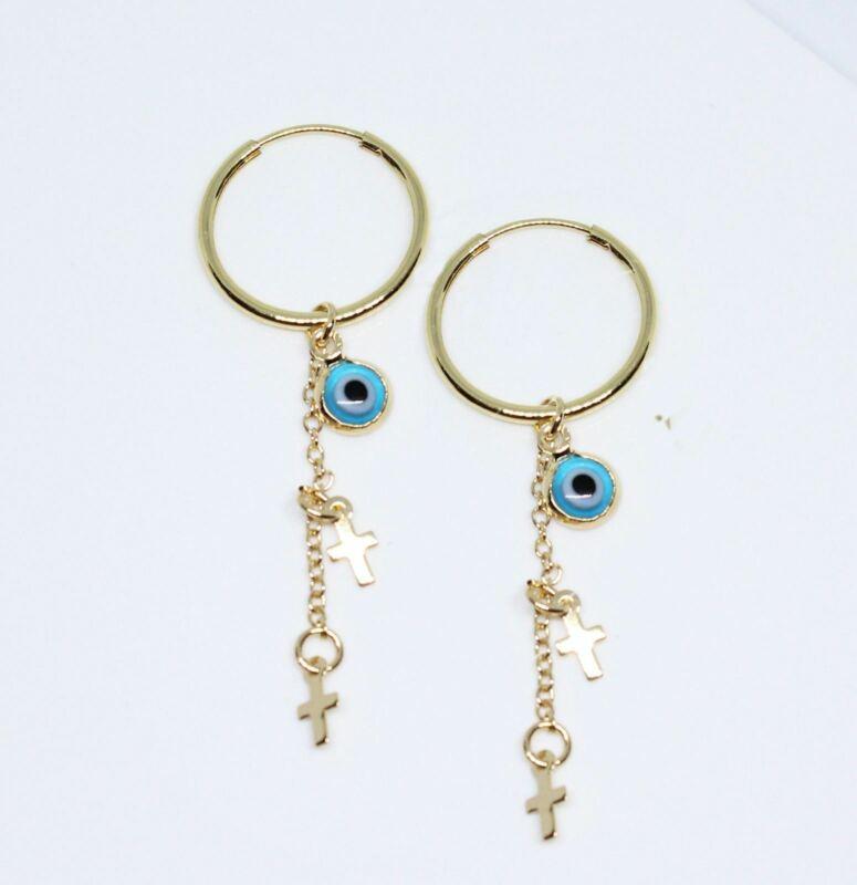 18k Gold Plated Evil Eye Hoop Earrings