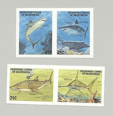 MICRONESIA 77-80 SHARKS, FISH, SCUBA DIVER 4V IMPERF IN 2V SETENANT PROOF PAIRS