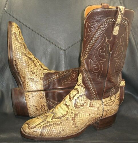 Lucchese, mens, authentic, tan, snake, skin, w/brown, leather, cowboy, boots, size, 8, 1/2D