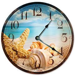 RUSTIC SEA SHELLS Beach CLOCK Large 10.5 inch Wall Clock OCEAN STARFISH - 2031