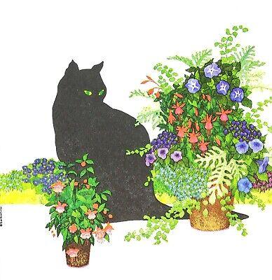 3 x Single SMALL Paper Napkins Decoupage Craft Tissue Black Cat & Flowers S033
