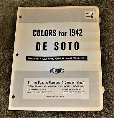 VTG 1941 1942 Dupont Color Paint Chips Bulletin 12 De Soto DeSoto